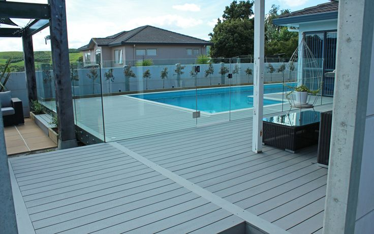 Poolside Living; Composite Eco Deck, Pool Fencing and Hedge - Albany