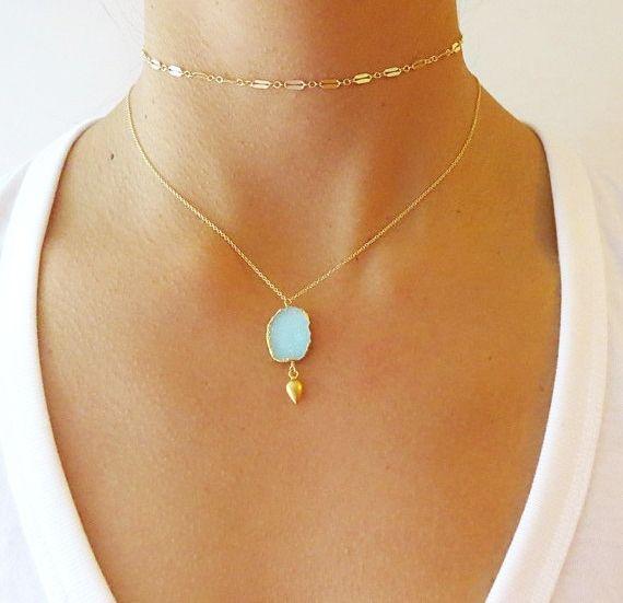 Aqua Druzy Gold Necklaces