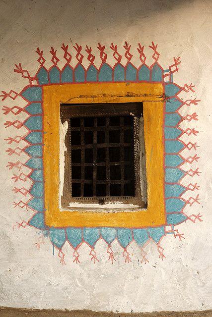 Decorated window.  Meghwal tribal people - Bhirandhiaro village.