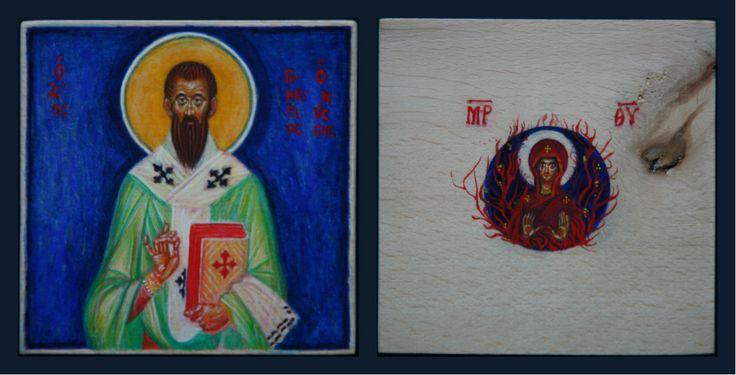 tomasz biłka op, ŚW. GRZEGORZ Z NYSSY, rewers MARYJA KRZEW GOREJĄCY, tempera na desce lipowej, 9,8 x 9,8 cm, 2011, dla Rafała Wędzickiego