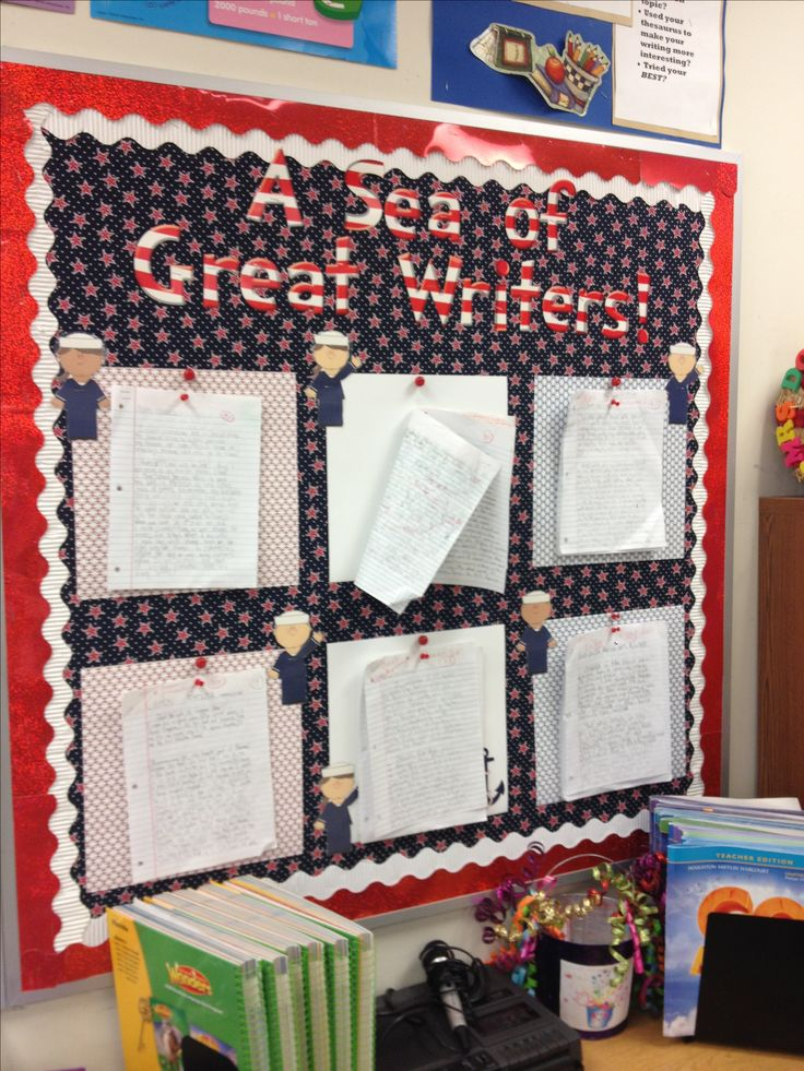 A Sea of Great Writers bulletin board for nautical themed classroom