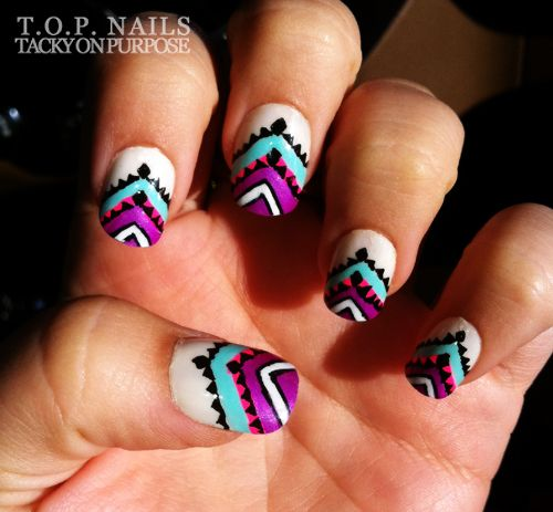 269 best nails tribalaztecnavaho images on pinterest nail art tribal nail art design in blue orange purple white prinsesfo Image collections