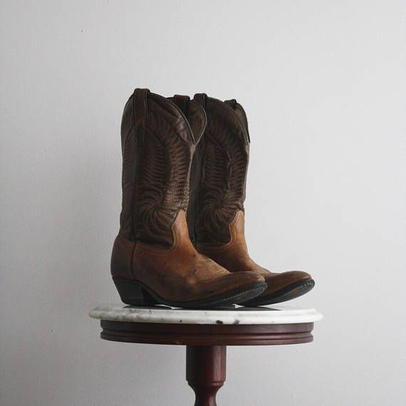 Cowboy Boots Men's 8 Women's 10 Brown Leather Western from  fiiimac  on etsy.ca