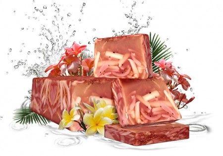 Tahiti virágok szappan - Kézzel készített, elegáns megjelenésű glicerines szappan, mely sárgabarackmag olajat és koriander magot tartalmaz. Sárgabarackmag olaj - Kiváló hidratáló és puhító tulajdonságú. Koriander mag - kissé dörzsölő és hámlasztó hatású., ©Refantázia