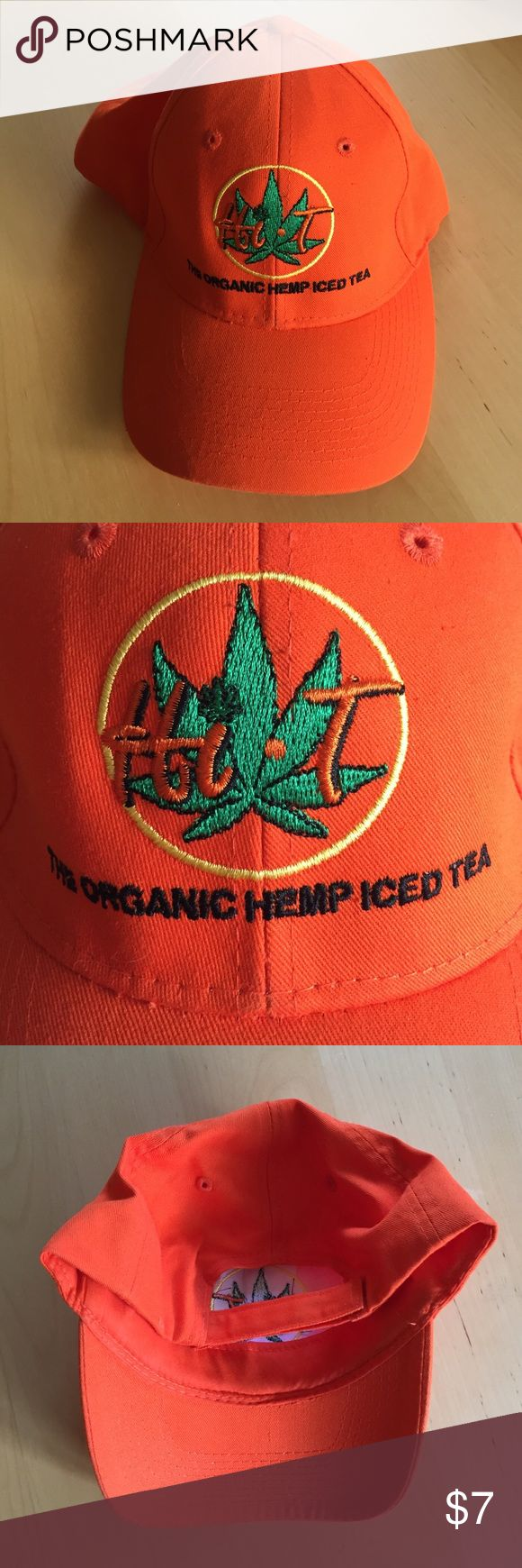 """hi-t"" bright orange hat ""The organic hemp iced tea"" hat with Velcro back Accessories Hats"