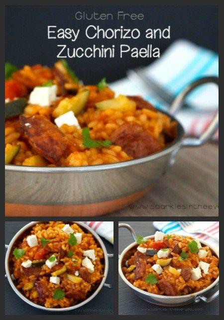 One Pot Easy Chorizo and Zucchini Paella! (GF)