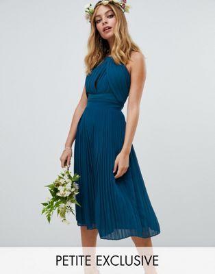 f733570d965 Image 1 of TFNC Petite pleated bridesmaids midi dress in petrol blue