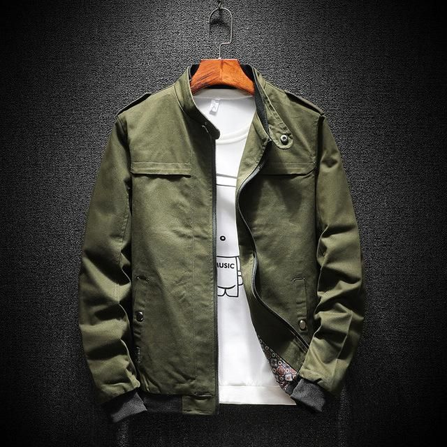 New Military Men Jacket Thin Stand Button Casual Slim Fit Jacket Size 4XL