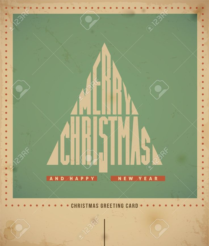 Retro Christmas Greeting Card, Text Merry Christmas In A Form ...