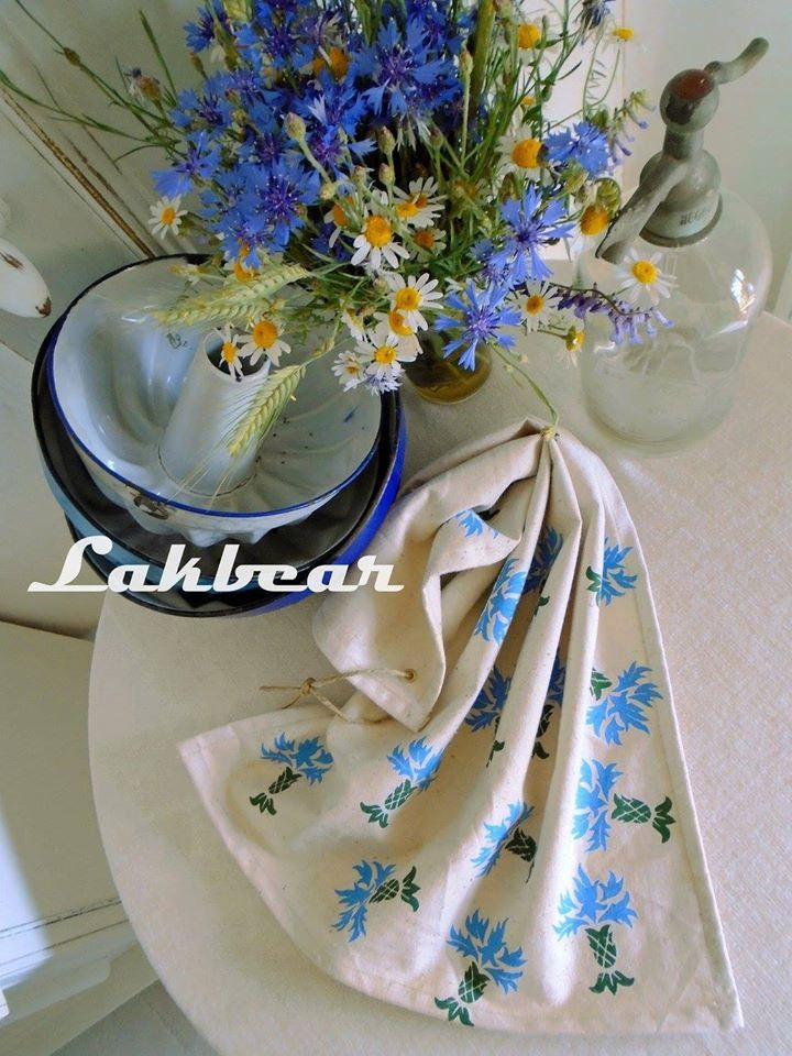 Handprinted teatowel + cornflower stamp | by LAKBEAR(D)