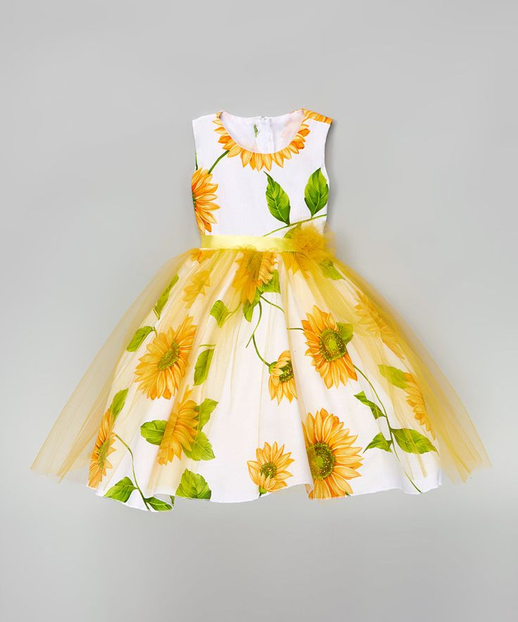 Kid fashion white yellow sunflower a line dress infant for Sunflower dresses for wedding