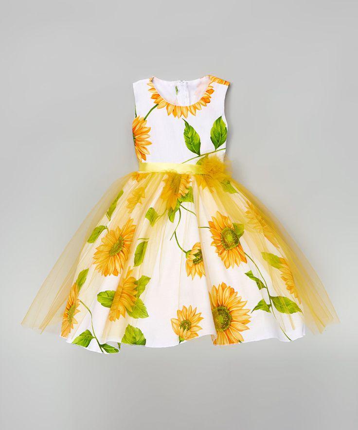 Kid fashion white yellow sunflower a line dress infant for Sunflower dresses for wedding