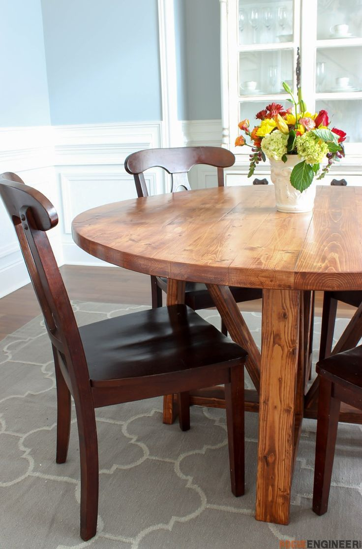 Round Trestle Dining Table - Free DIY Plans  | rogueengineer.com #RoundTrestleDi...