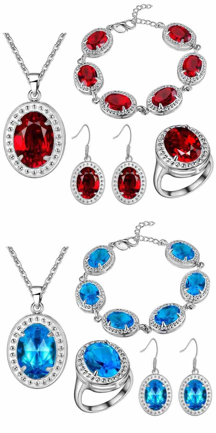 Earrings Ring Pendant Necklace BRACELET Set Thick  jewelry set color gem  wholesale colorful stone Jewelry for women
