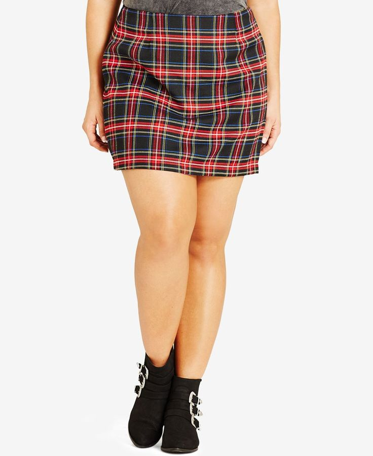 Relive the greatest look of the '90s with City Chic's gorgeously grunge plus size mini skirt. | Polyester; lining: polyester | Machine washable | Imported | Hidden back zipper closure | Allover plaid