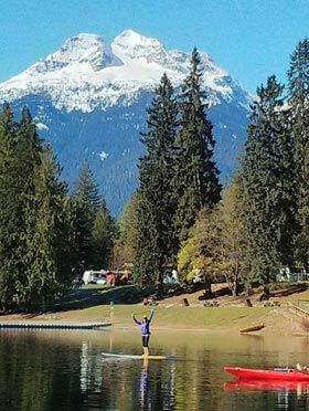 Williamsons Lake Campground, Revelstoke, BC, with Mt Begbie in background.