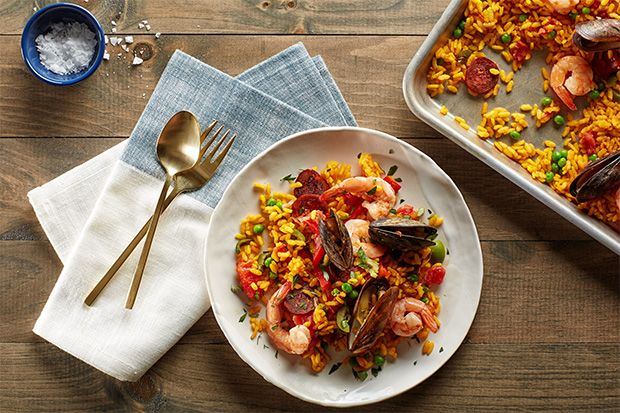 One-Pan Dinner Sheet-Pan Paella with Chorizo, Mussels, and Shrimp