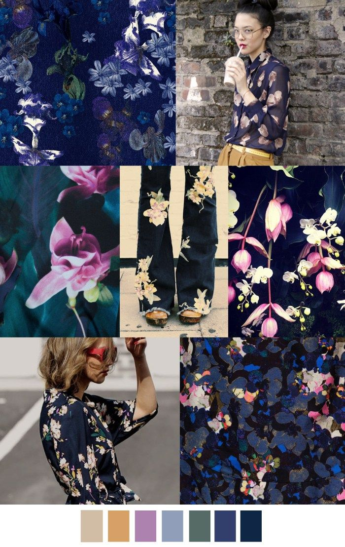 Dark and moody colour inspiration | mood board | surface pattern design| textile design