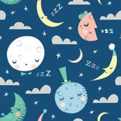 Catalan Throw Pillow featuring goodnight blue moon by shindigdesignstudio