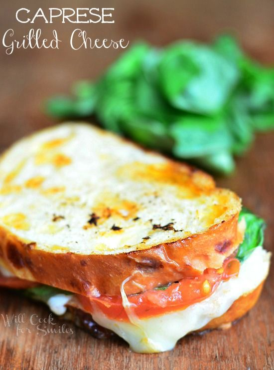 Caprese Grilled Cheese | willcookforsmiles.com for wineandglue.com