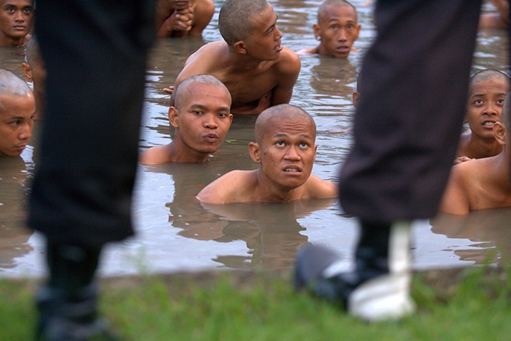 """After being arrested at a punk rock concert in Banda Aceh, Indonesia, fans were forced to have their hair cut, bathe in a lake, change clothes and pray."" via The Guardian, 12/14/11."