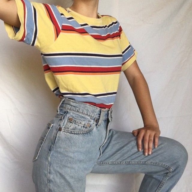 Cute Aesthetic Vintage Yellow Colour Block Tee With Mom Jeans Retro Outfits Aesthetic Clothes Clothes