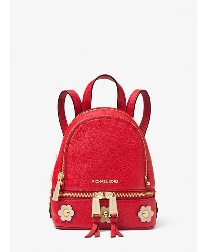 9c96a6589421 Michael Kors Backpack Rhea Mini Floral Appliqué Leather Bright Red/Soft Pink