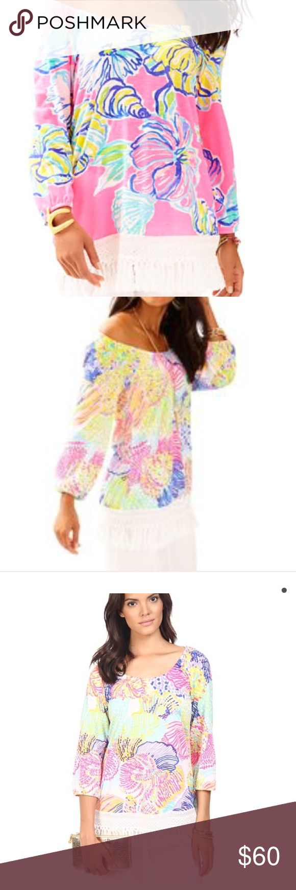 Lilly Pulitzer Alia Top BRAND NEW! The Alia printed top will take you from the beach to happy hour in the chicest way possible. So head to the cabana bar and order two daiquiris, we'll be there soon! Scoop Neck Top With ¾ Length Sleeve, Scoop Neckline, And Fringed Trimmed Hem. Cotton Slub Jersey - Printed (100% Cotton). Machine Wash Cold, Delicate Cycle. Imported. Lilly Pulitzer Tops Blouses