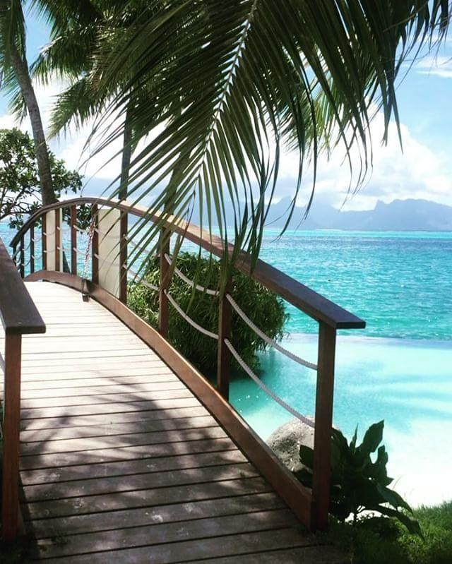 The path to paradise !  : @kriusta  tahiti.intercontinental.com  #ICTahiti #frenchpolynesia #tahiti #island #bridge #palmtree #blue #pool #lagoon #sea #vacations #dream #honeymoon #heaven #islandlife #relax #poolday #lovers #valentineday