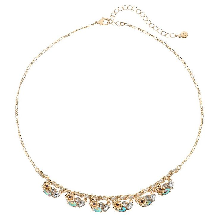 LC Lauren Conrad Flower Stone Cluster Necklace, Women's, Beige Oth