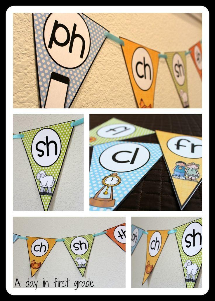 phonics flags-- beautiful classroom decorations with phonics skills