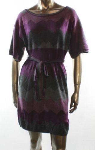 Jessica Howard Purple Chevron Print Sweater Dress-Large. Starting at $20 on Tophatter.com!