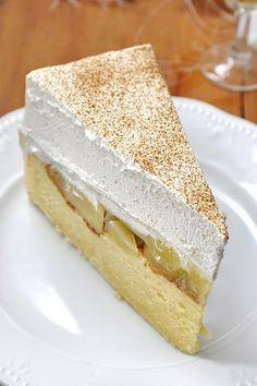 Δροσερή τούρτα με μήλα ή ροδάκινα/Apple pudding cake