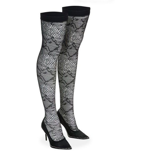 Alexander Wang LYRA LACE THIGH HIGH BOOT Heels | Official Site ❤ liked on Polyvore featuring shoes, lace shoes, alexander wang shoes, alexander wang and lacy shoes