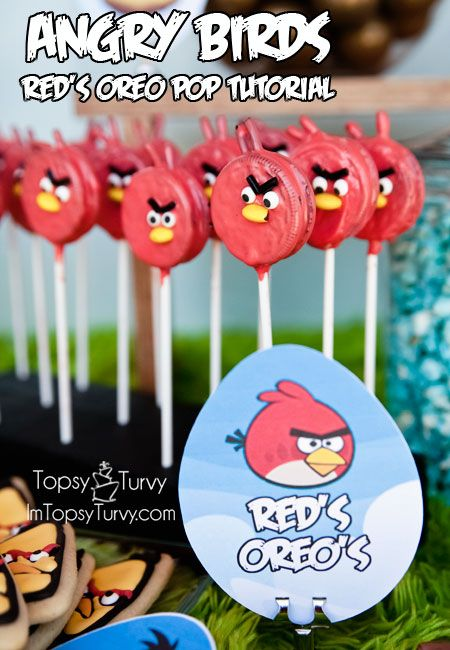 Ashlee Marie: Red – Angry Birds Oreo Pops Tutorial