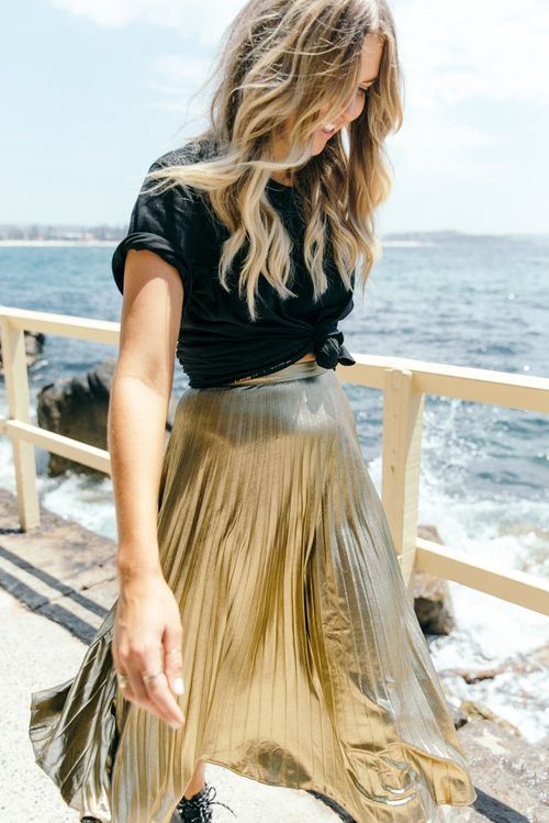 Gold midi skirt, black tee, knotted tee shirt | TheyAllHateUs