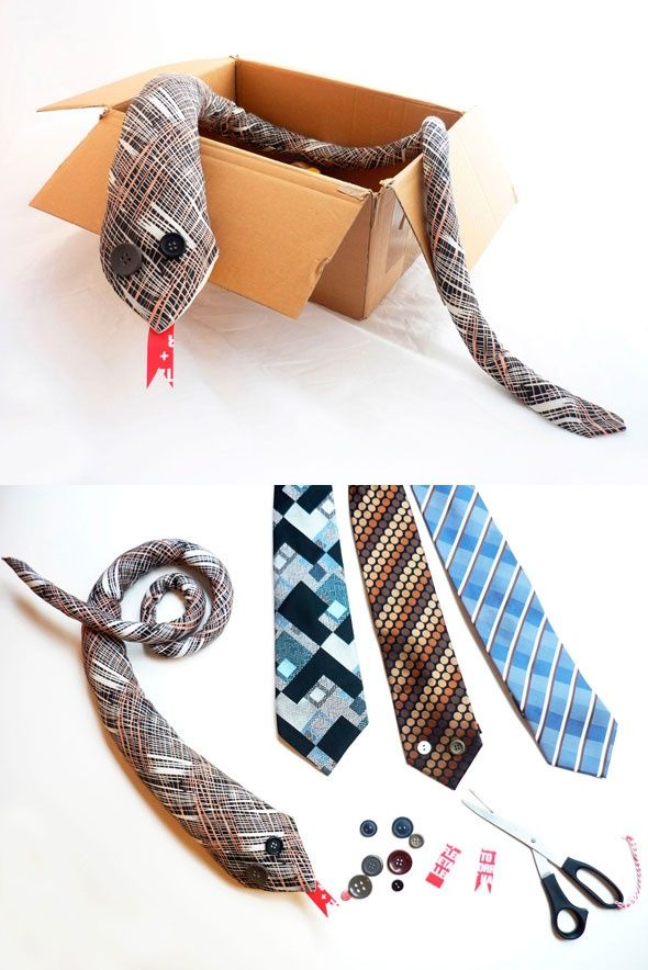 DIY recycled tie snake. Although the linked blog does not have directions in English, it just looks like you sew two ties together, turn inside out, stuff with stuffing, and add button eyes and a tongue. This might be neat to make.