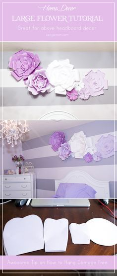 I updated my little girl's room with large paper flowers. These floral blooms can be used in any room that needs a big statement or a fun decor piece for parties and wedding backdrops! DIY Large Paper Flowers.