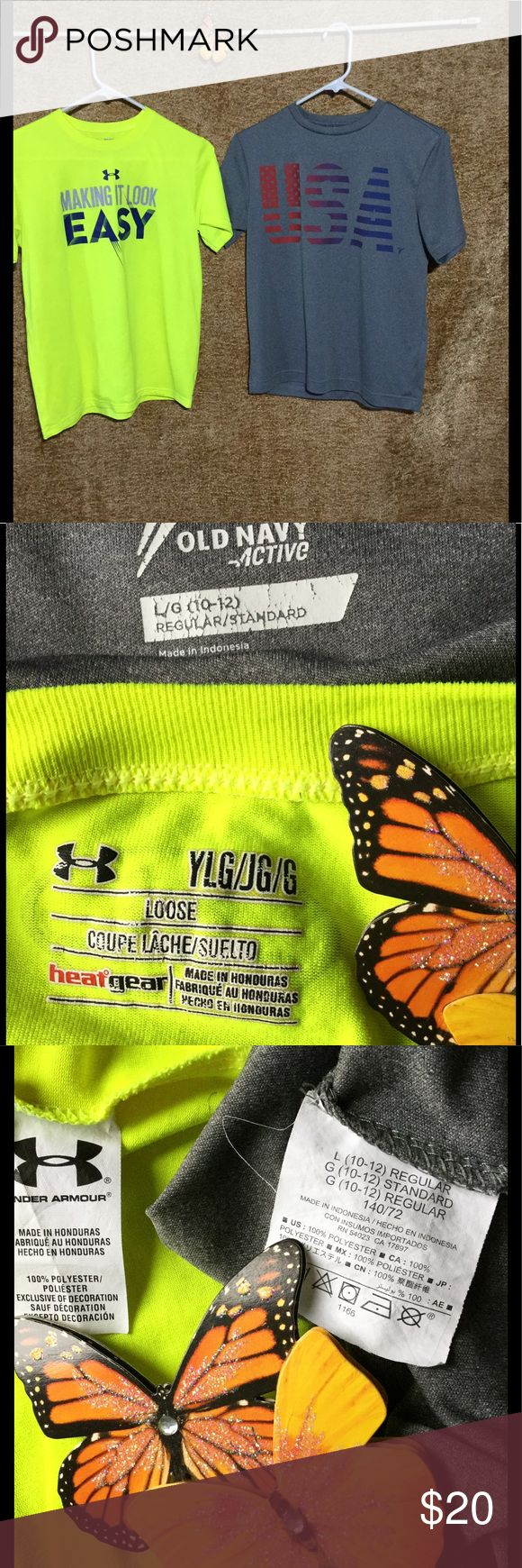 """UNDER ARMOUR/OLD NAVY Bundle boy's T's. YL UNDER ARMOUR/OLD NAVY Bundle boy's T's. Youth Large. UNDER ARMOUR """"Making it look easy"""" graphic. Neon yellow. OLD NAVY ACTIVE """"USA"""" lt. gray. Both 100% polyester. Measurements laying flat: Armpit-armpit 18"""" Across back 14"""" Across shoulders 14 1/2"""" & 15 1/2"""" Shirts & Tops Tees - Short Sleeve"""