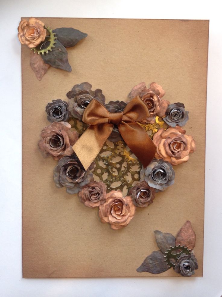 Handmade flowers and cogs steampunk love/Valentine's Day card.
