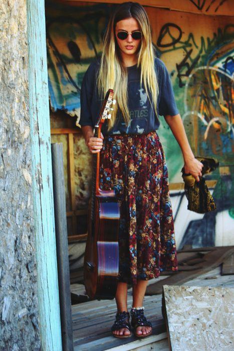 This summer. Guitar, skirt, band tee.
