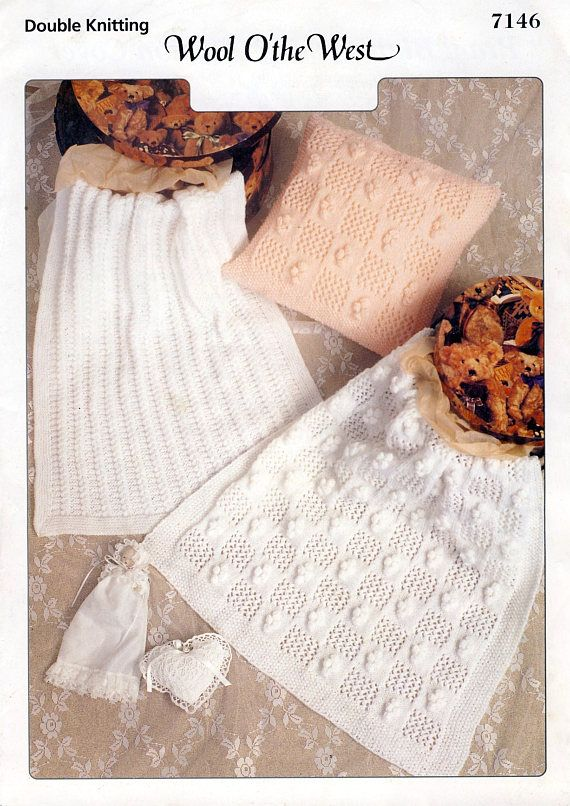 Baby Blankets & Cushion Cover PDF Knitting Pattern. Patternalia Vintage on Etsy.