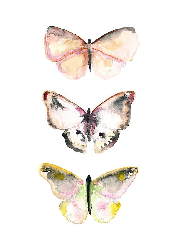 The butterfly in the middle would make a nice tattoo. (5x7 Watercolor Butterfly Art. on Etsy, $10.00)