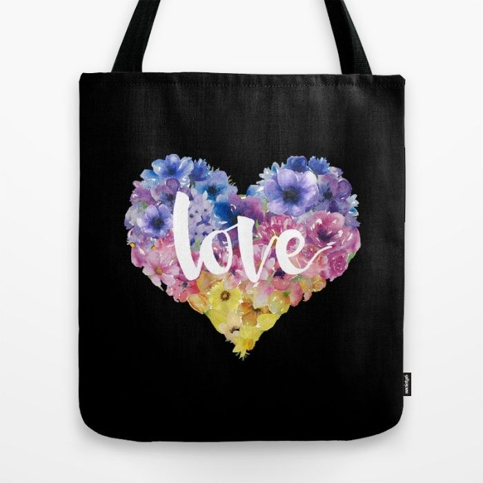 Heart of Love on Black Tote Bag by The Willow Wood Studio | Society6
