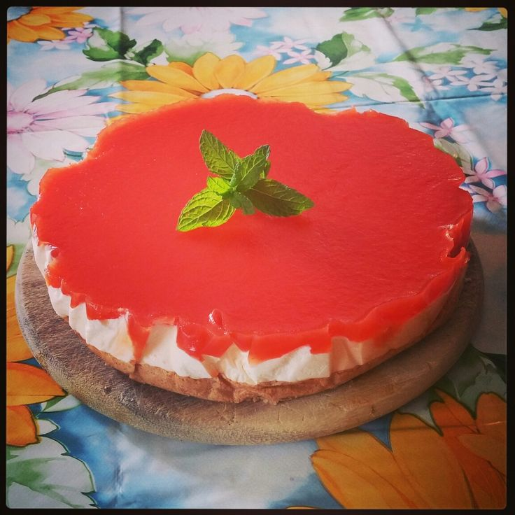 #cheesecake con gelatina di #anguria e #menta! Una delizia!