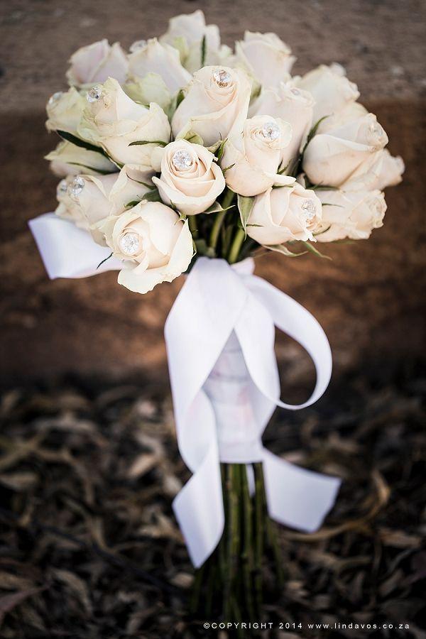 Blush roses with diamanté bouquet. www.lindavos.co.za