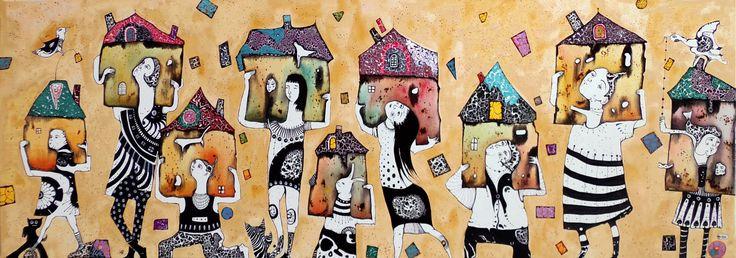 """Работа художника Наталии Пастушенко, """"Мечты о домике"""" 120х40, авторская техника на холсте . Контакт с автором по вопросам приобретения прав на публикацию или покупки оригиналов - pastuszenko@gmail.com"""