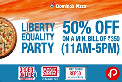 Domino's Pizza Liberty Equality Party brings 50% off on Pizza + 15% Cashback from Paytm Wallet. Valid till 27 January. Not Valid on Simply Veg/non-veg pizzas, combos, Side & Beverages. Domino's Pizza Coupon Code – REP50  http://www.paisebachaoindia.com/get-pizza-50-off-15-cashback-paytm-wallet-liberty-equality-party-dominos-pizza/