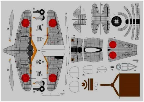 PAPERMAU: WW2`s Nakajima Ki-44 Japanese Aircraft Paper Model - by Etsutan