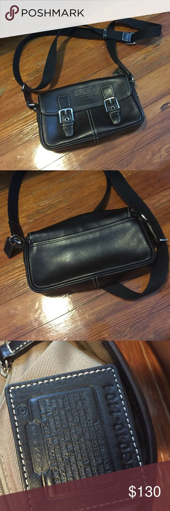 Coach leather shoulder bag EUC Coach leather bag with adjustable fabric shoulder strap. Absolutely no stains or flaws as this was barely used. Coach Bags Shoulder Bags